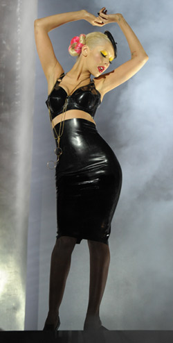 christina aguilera latex skirt