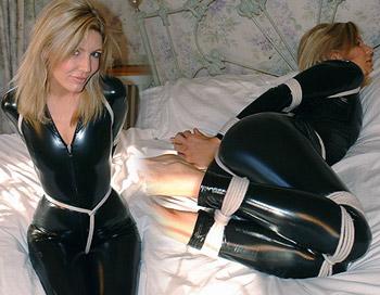 Very good pvc catsuit bondage