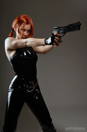 cindy synnet latex robocop gun